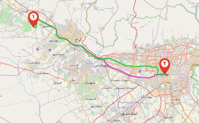 نقشه شهرک طاووسیه کرج